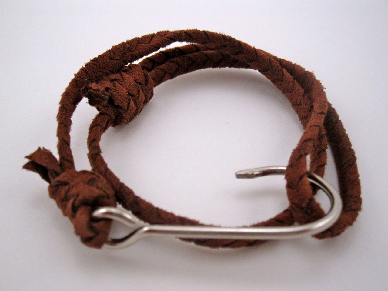 Braided leather fish hook bracelet by gensdumonde on etsy for Leather fish hook bracelet