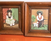 Set of Framed Margo Illustrations - Girl and Boy