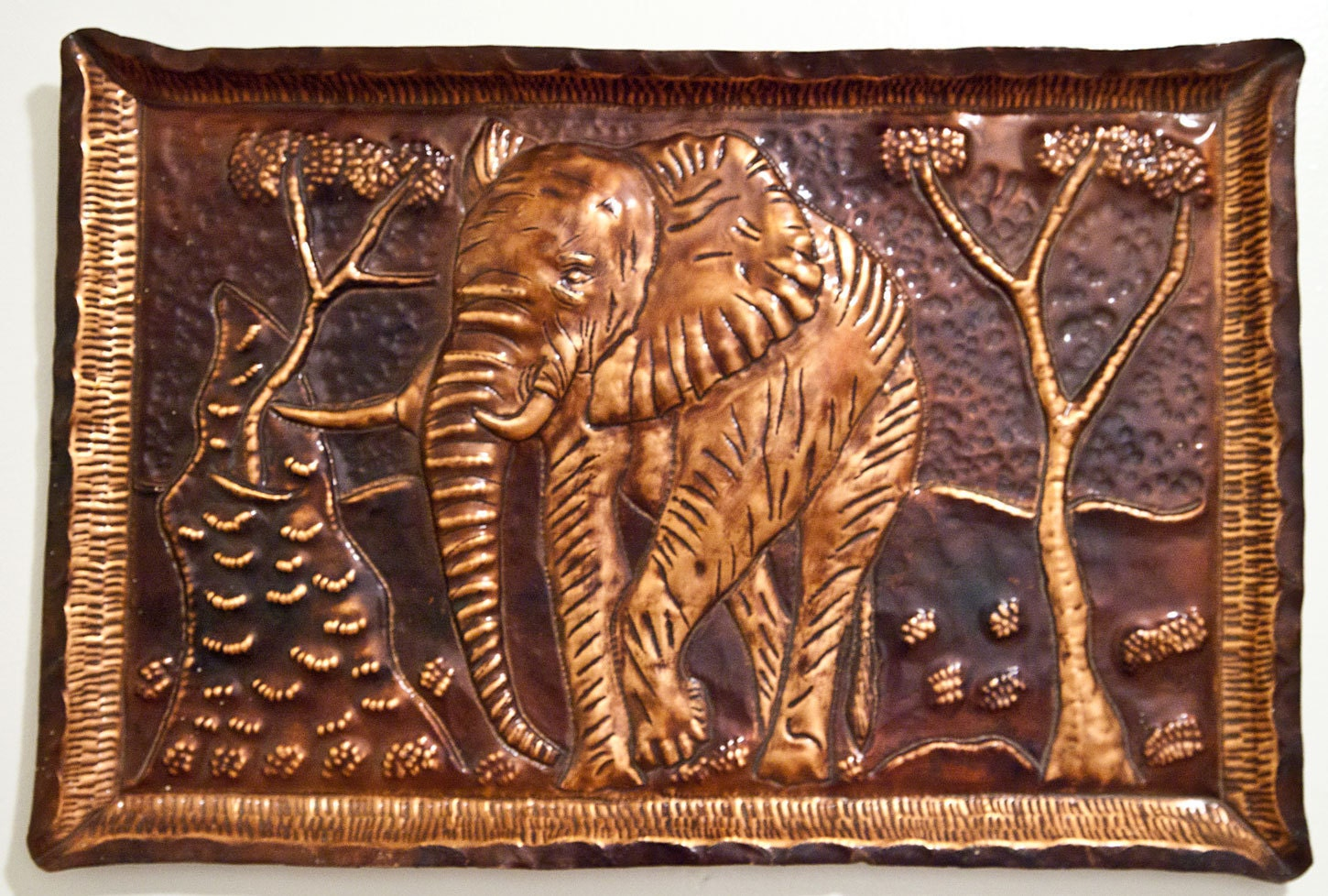 African elephant hammered copper wall art for Copper wall art