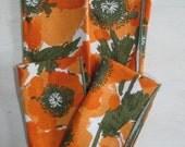 Vintage Vera Neaumann Linen Napkins set of 4 Orange Poppy.
