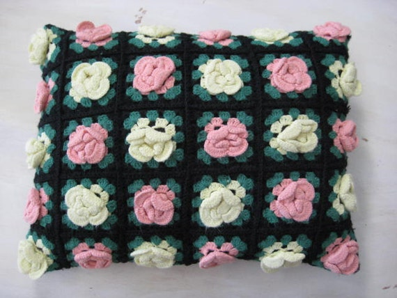 Vintage Crochet Pillow Yellow and Pink Roses.