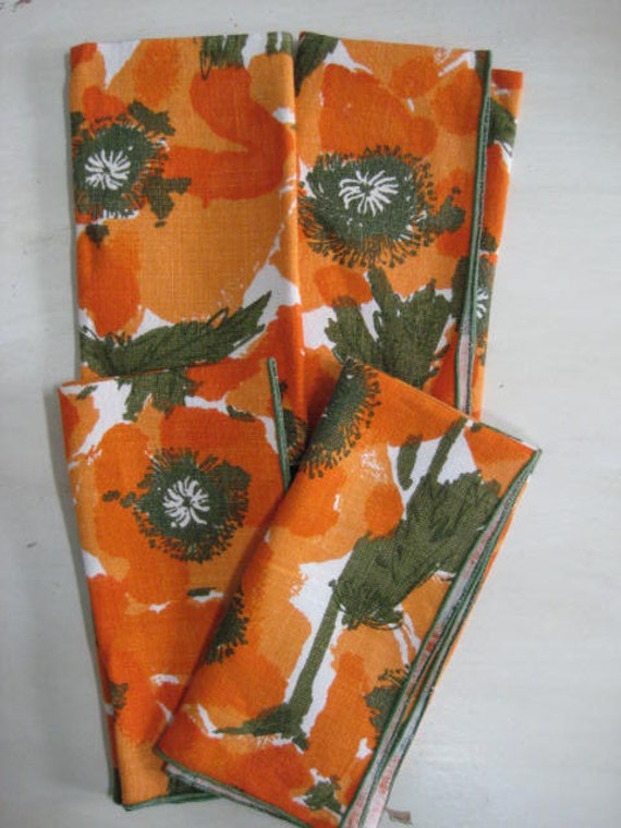 Vintage Vera Neaumann Linen Napkins set of 4 Orange Poppy.