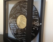 Wedding Guest Book Alternative - Shadowbox Vinyl Record Guest Book w Personalized Label