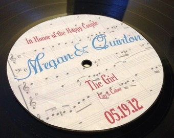 LP Vinyl Record Album with Personalized Center Labels- Wedding Stickers/Labels