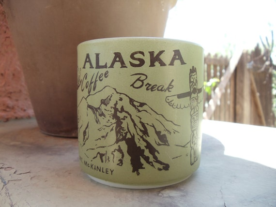 Vintage Fire King Army Green Alaska Coffee Mug