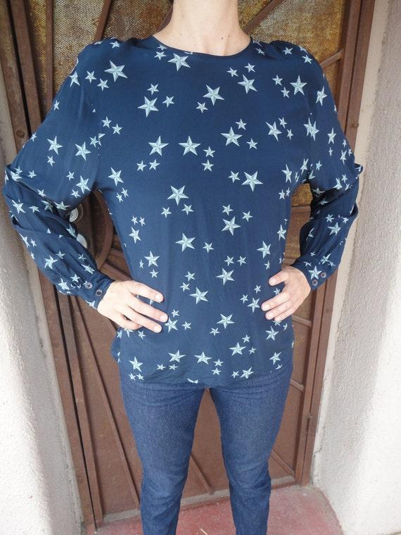 Beautiful Vintage Star Print Navy  Silk Blouse