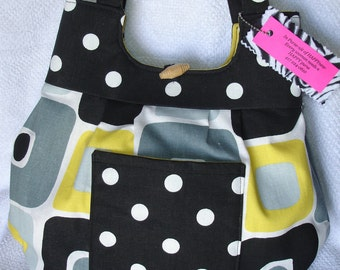 Black and yellow mod  Reversible purse
