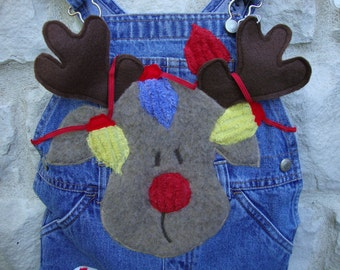 Christmas Childs Custom Overalls,Rudolph Outfit, Appliqued Overalls,Girl's custom Overall sz4,
