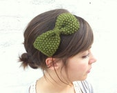 Mossy-green handknit bow