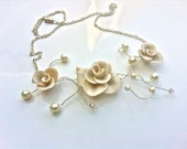 Clay Rose Necklace - White with silk white pearls
