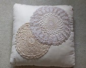 RESERVED FOR AMELIA - Ivory Linen Pillow with Vintage Lace Doilies 16x16 inches
