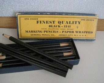 Vintage Pencil Box With  Marking Pencils - Paper Wrapped