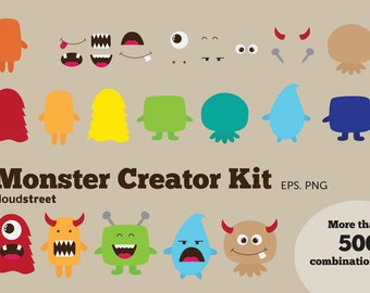buy 2 get 1 free Cute Monsters Creator Kit clip art for personal and commercial use ( monster clipart ) INSTANT DOWNLOAD