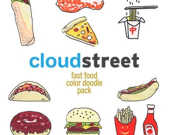 20% OFF Fast Food Doodle clip art for commercial and personal use ( hand drawn food clipart ) INSTANT DOWNLOAD