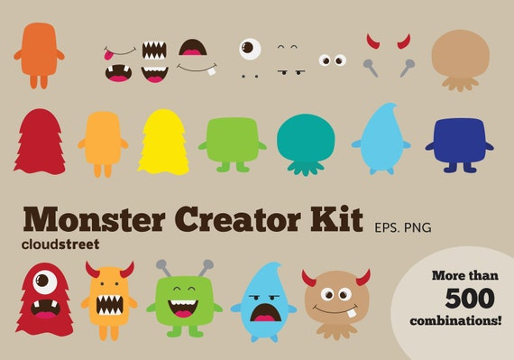 20% OFF Cute Monsters Creator Kit clip art for personal and commercial use ( monster clipart ) INSTANT DOWNLOAD
