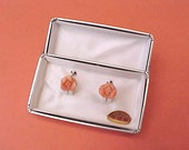 Dainty and Lovely Carved Coral Roses Vintage Screw Back Earrings in Original Display Box