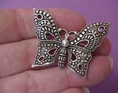 Lovely Sterling Silver Textured Butterfly Brooch