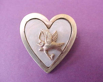 Charming Little Edwardian Era Brass and Mother of Pearl Brooch with Little Bird Design