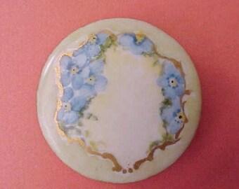 Beautiful Large Art Nouveau Era Hand Painted Porcelain Button Stud