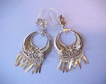 Intricate and Beautiful Pair of Sterling Silver Filigree Gypsy Style Dangling Earrings