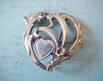 Beautiful Little Art Nouveau Era Heart Within a Heart Shaped Watch Pin
