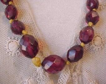Gorgeous Art Deco Era Necklace of Luminous Cherry Amber Beads