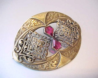 Gorgeous Large Victorian Brooch-Renaissance Styling with Crimson Jewels
