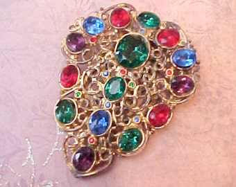 Beautiful Large Renaissance Styled Antique Jeweled Dress Clip