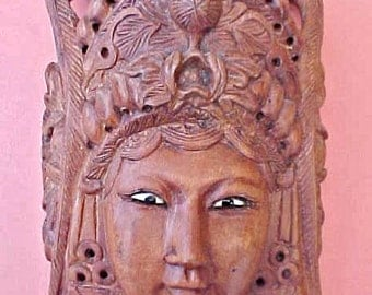 Beautiful Asian Carved Teak Mask Face with Glass Eyes