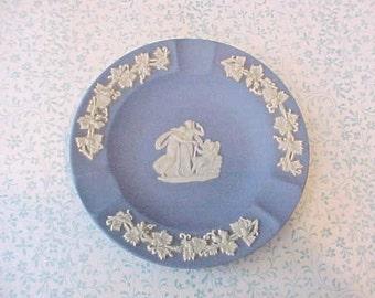 Lovely Vintage Wedgwood Blue Porcelain Ashtray-Classical Figures