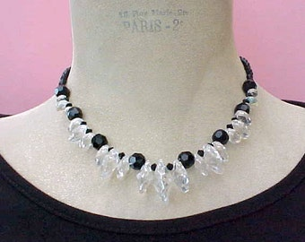 Beautiful Necklace of Black Glass Beads and Gorgeous Disk Shaped Crystals