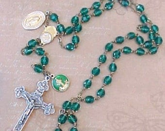 Beautiful Emerald Green Rosary with Lovely Crucifix and Extra Medals