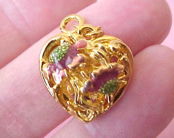 Super Pretty Heart Shaped Charm with Lovely Enameled Poppies Design in Wine and Spring Green