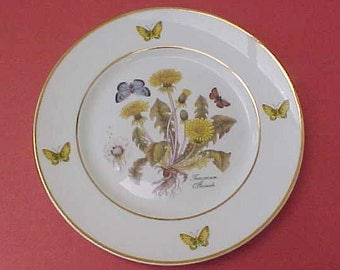 Lovely Royal Danube Hand Painted Botanical Porcelain Plate with Butterflies