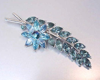 Beautiful Signed Crown Trifari Rhinestone Leaf Brooch in Blues
