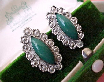 Lovely Vintage Mexican Sterling Silver Earrings Set with Pretty Deep Green Stones