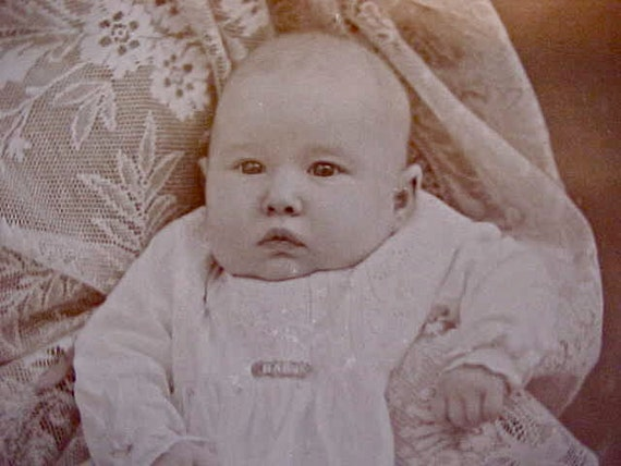 """Dearest Photograph of 1890's Baby in Christening Gown with """"Baby"""" Rose Gold Brooch"""