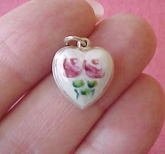 Reserved:  Lovely Vintage  Silver Guilloche Enamel Puffy Heart Charm with 2 Pink Roses