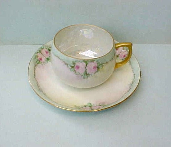 Dainty and Beautiful Hand Painted Antique Cup and Saucer with Pastel Roses on Aqua
