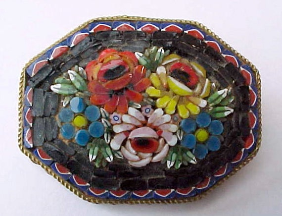 Big and Beautiful Older Micro Mosaic Brooch-Red Rose on Black with Aqua
