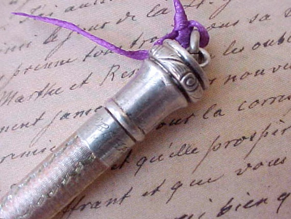 Reserved:  Charming Edwardian Era Sterling Silver Mechanical Pencil with Chatelaine Ring by Eversharp