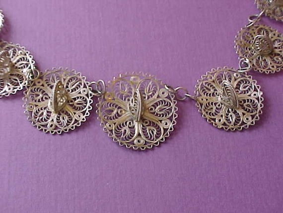 Lovely Vintage Mexican Sterling Silver Filigree Necklace and Earrings Set-1940's Sombreros