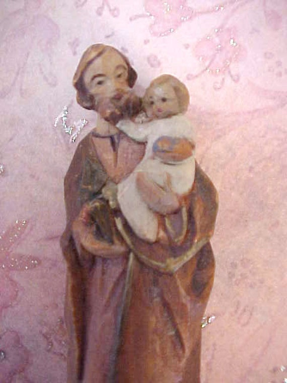 Charming Little Hand Carved Italian Wood Figure of St Joseph with Baby Jesus