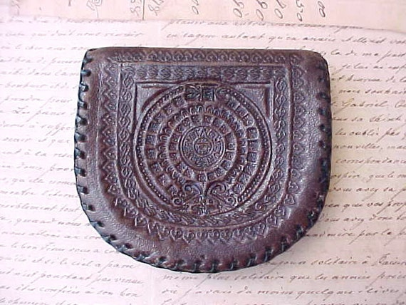 Charming Vintage Hand Tooled Leather 1940's Coin Purse with Aztec Calendar