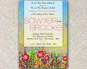 Painted Flower Field UNIQUE WEDDING INVITATION, Blue Sky, Multi-Color, Flowers in a Field