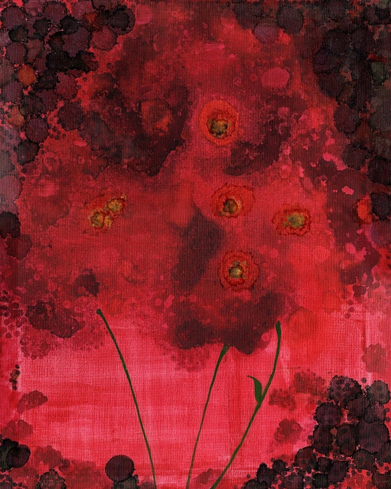 """red blooms INK ON CANVAS 16"""" x 20"""""""