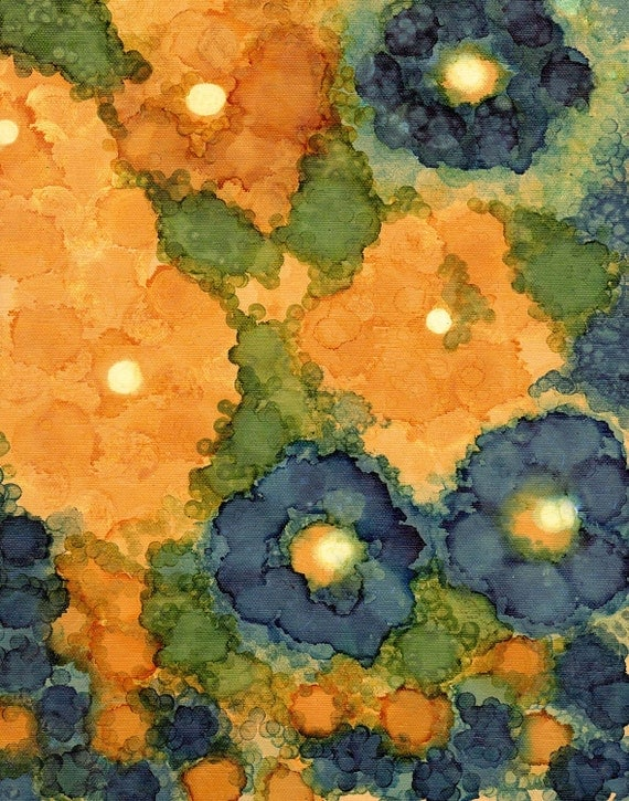 "petunias INK ON CANVAS 11"" x 14"""