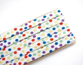 "LAST ONE: white w/ multicoloured dots - double fold, bias tape - 2.5 yards, 3/8"" wide"