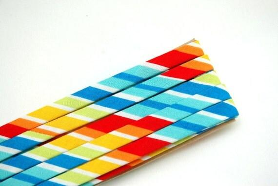 "LAST ONE: rainbow striped - double fold, bias tape - 3 yards, 3/8"" wide"