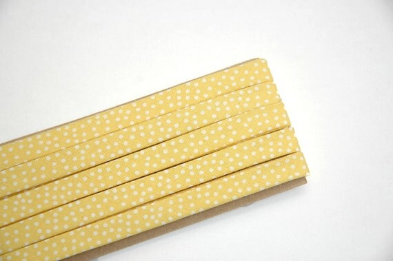 "LAST ONE: yellow w/ white dots - double fold, bias tape - 4 yards, 3/8"" wide"